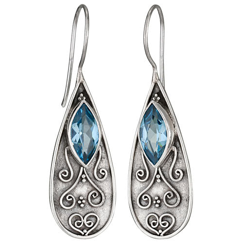 Scroll Work Oxidized Blue Topaz Earring