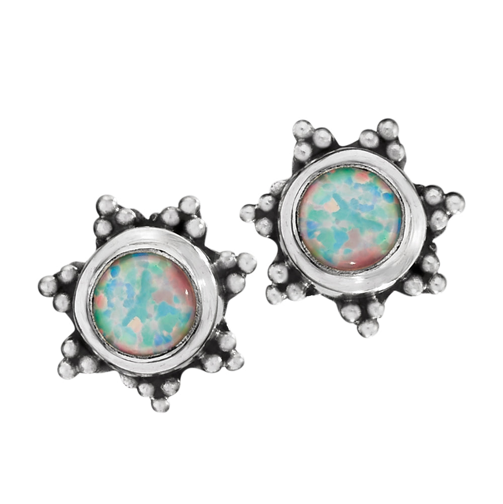 Opal Sterling Stud Earrings