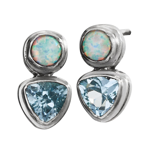 Blue Topaz Opal Post Earrings