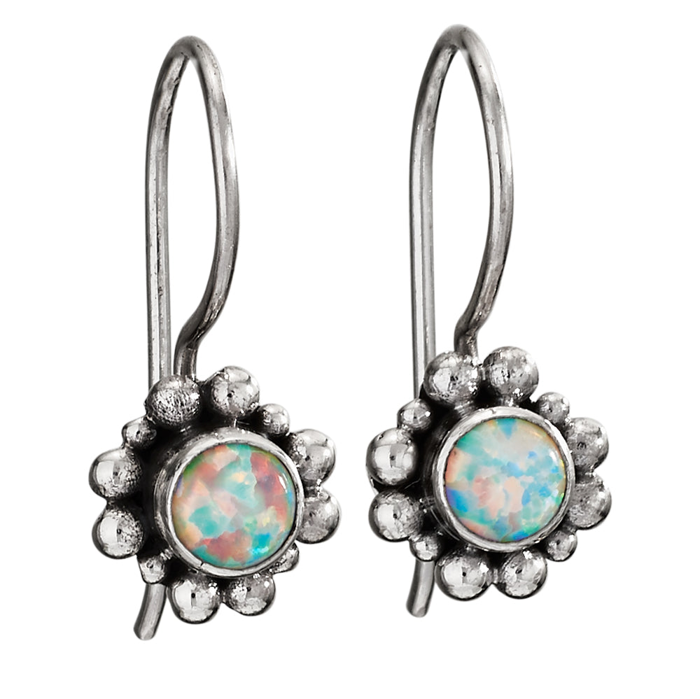 Opal Sterling Drop Earrings
