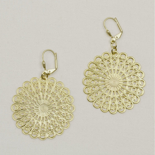 Filigree Sunburst Earrings Gold