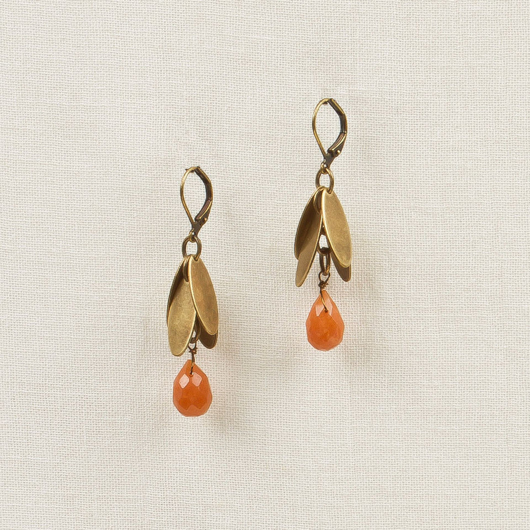 Metal Leaves with Stone Drop Earrings - Red Agate