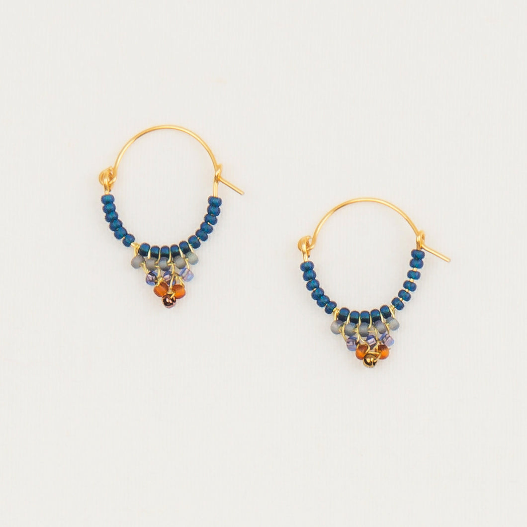 Beaded Hoop Earring - Denim