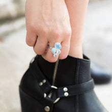 Load image into Gallery viewer, Chalcedony, Larimar, Topaz and Moonstone Cluster Ring