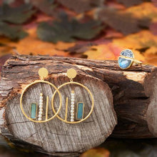 Load image into Gallery viewer, 14 Karat Gold Plated Brass Labradorite and Cultured Freshwater Pearl Fashion Earrings
