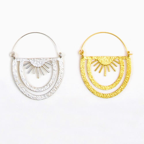 Rainbow Rays Hoop Earrings Silver