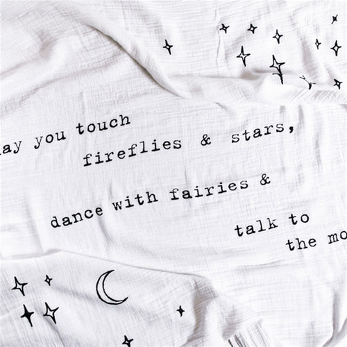 Organic Cotton Swaddle Blanket- May you Touch Fireflies