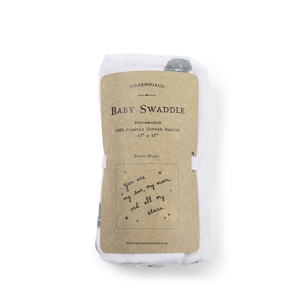 Organic Cotton Swaddle Blanket- You Are My Sun My Moon