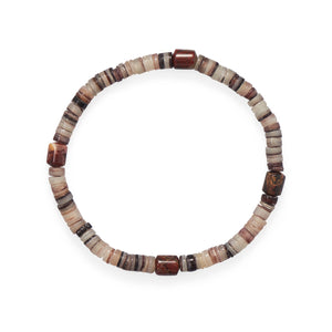 "8"" Shell Heishi and Jasper Stretch Bracelet"