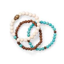 Load image into Gallery viewer, Wood and Magnesite Buddha Stretch Bracelet Set