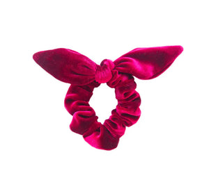 Velvet Scrunchie With a Bow - Cranberry