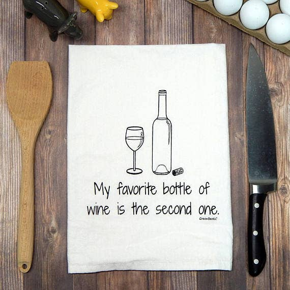 Favorite Wine Flour Sack Tea Towel