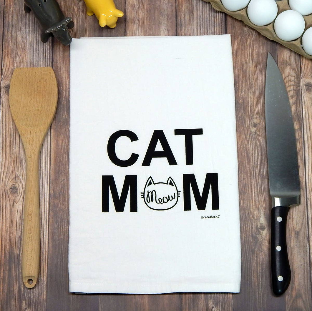 Cat Mom Meow Flour Sack Tea Towel
