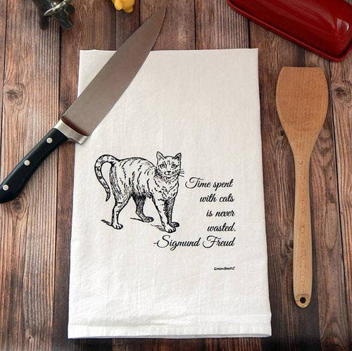 Time Spent With Cats Is Never Wasted Flour Sack Tea Towel