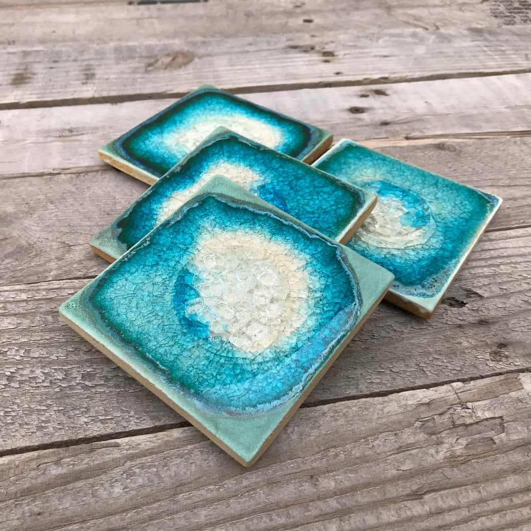 Geode Crackle Coaster - Aqua