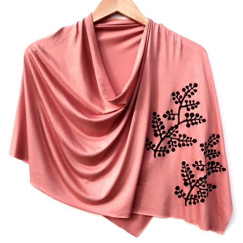 Berry branch Poncho Peach with Black