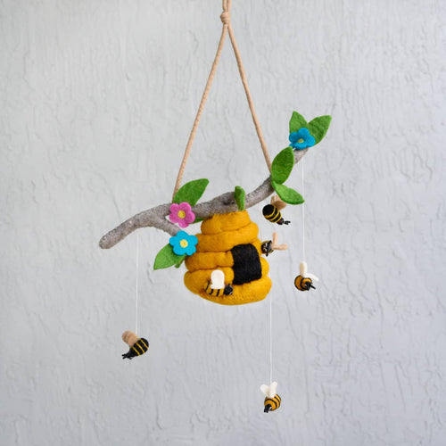Hand Felted Mobile-Bee Hive and Honey Bee