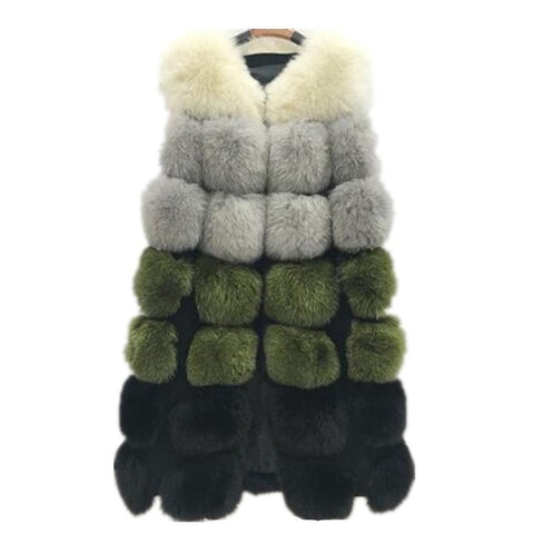 Lisa Colly New Fashion winter women's fur vest coat Warm long vests fur vests Women faux fur vest coat outerwear jacket