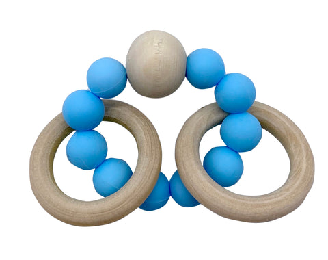 Blue Baby Silocone/ Beech wood Teether