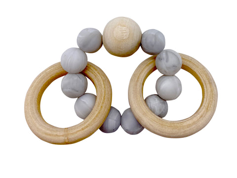 Gray Baby Silocone/ Beech wood Teether