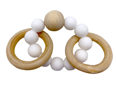 White Baby Silocone/ Beech wood Teether
