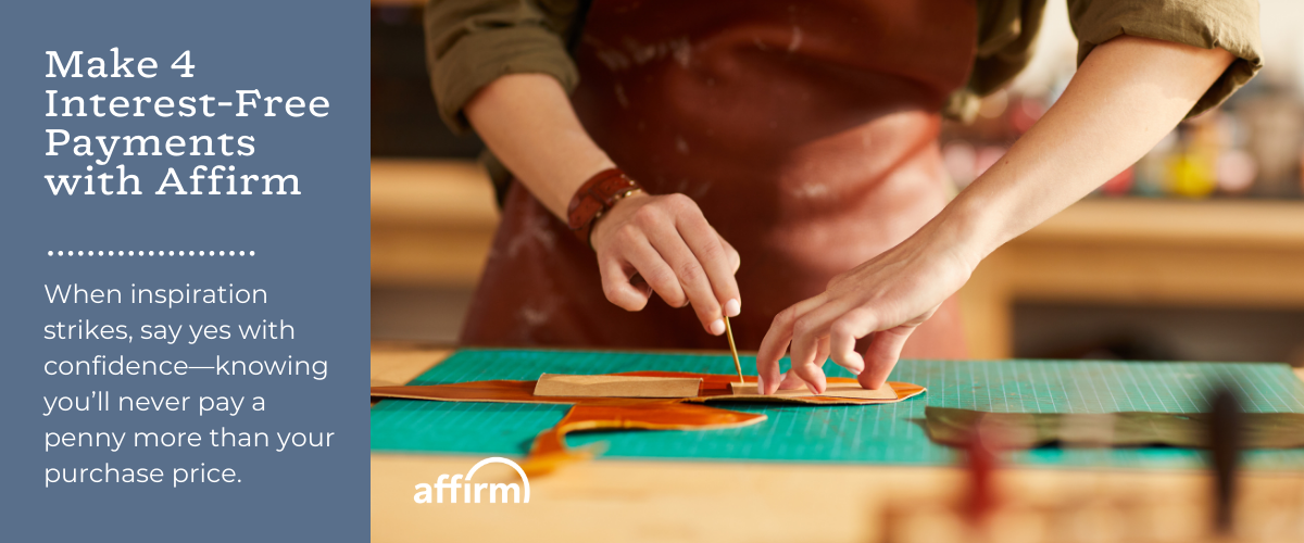 buy now, pay over time with affirm and rindleshire leather co., leather bags, handmade leather bag, leather goods, artist in north carolina, leather in north carolina