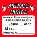 Pet Emergency Sticker - Single/Double Pack ~ Apollo's Pack - the Pack that gives Back