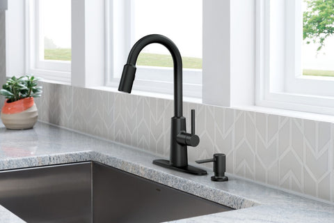 NORI Matte Black One-Handle High Arc Pulldown Kitchen Faucet