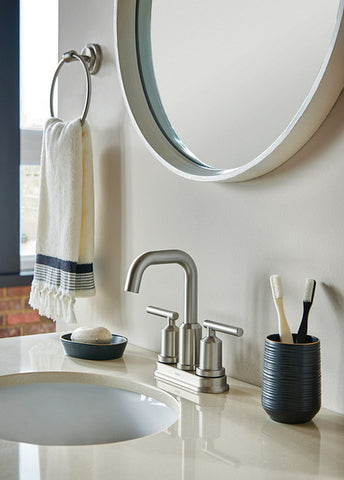 GIBSON Two-Handle High Arc SRN Bathroom Faucet