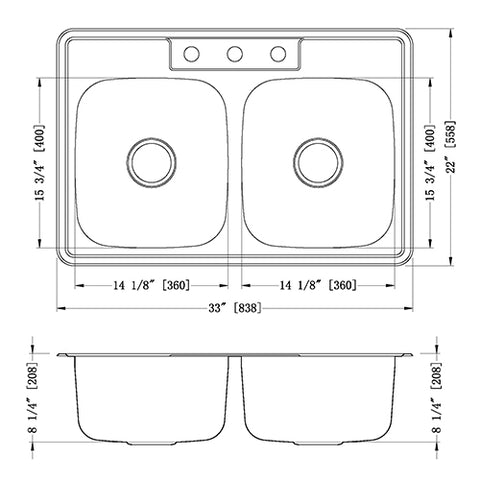 Double Bowl Stainless Steel Kitchen Sink - Top Mount