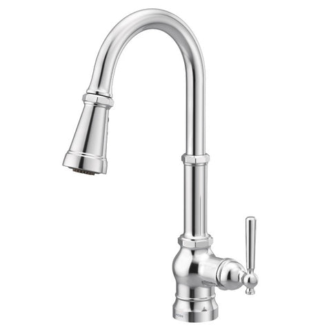 PATERSON Chrome Interchangeable One-Handle High Arc Pulldown Kitchen Faucet