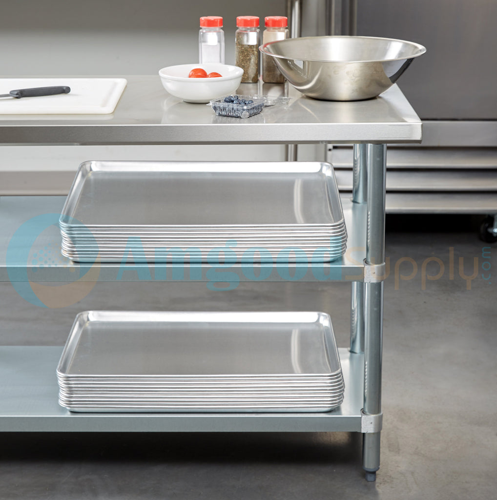 "24"" X 96"" Stainless Steel Work Table With 2 Undershelf - AmGoodSupply.com"