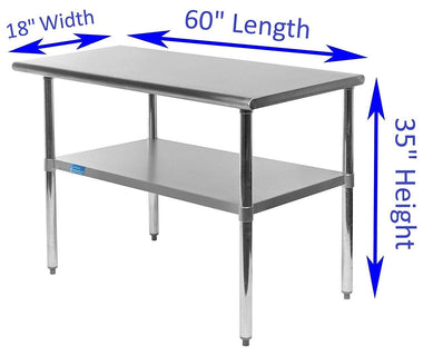 "18"" X 60"" Stainless Steel Work Table With Galvanized Undershelf"