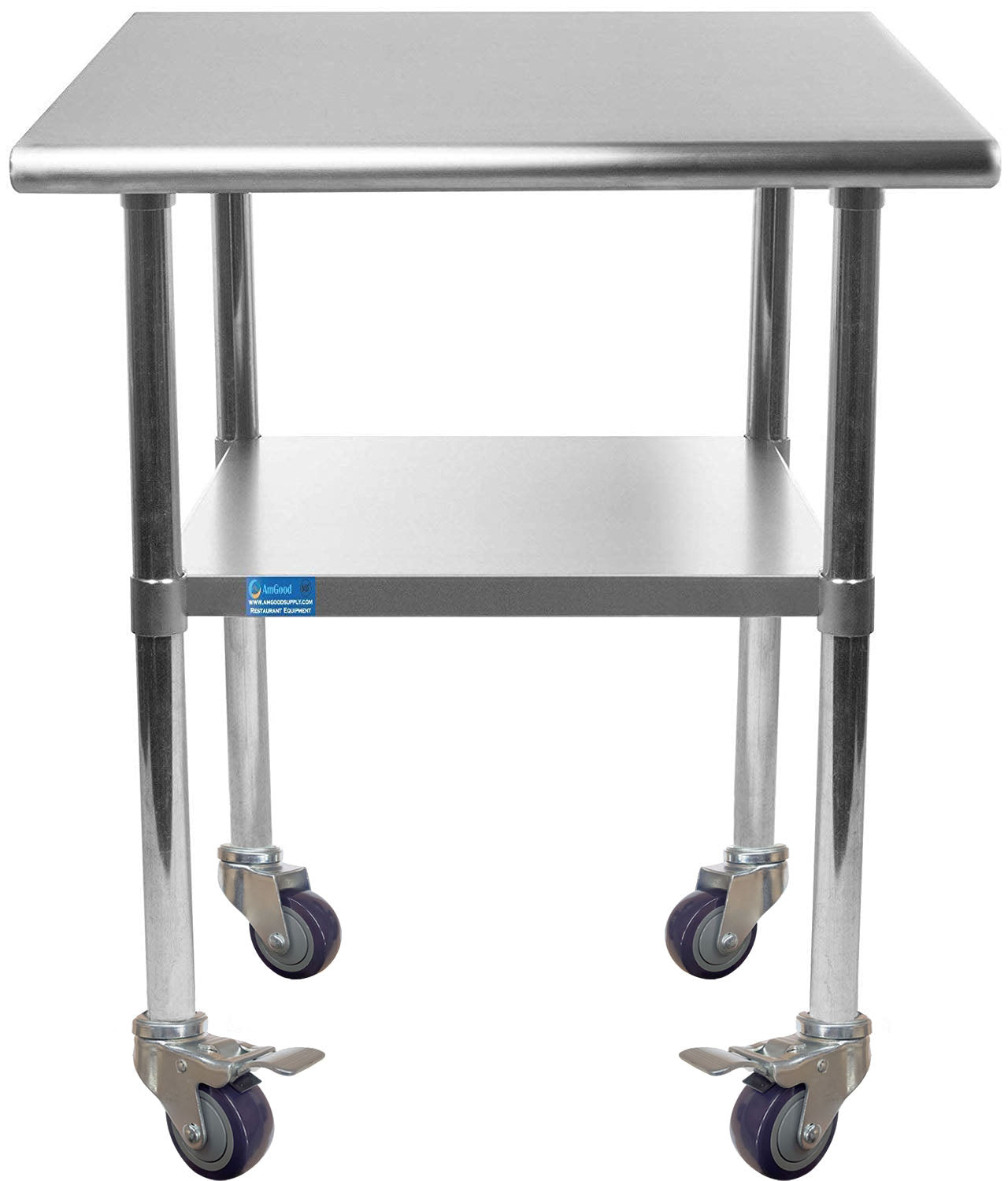 "14"" X 24"" Stainless Steel Work Table With Galvanized Undershelf & Casters"