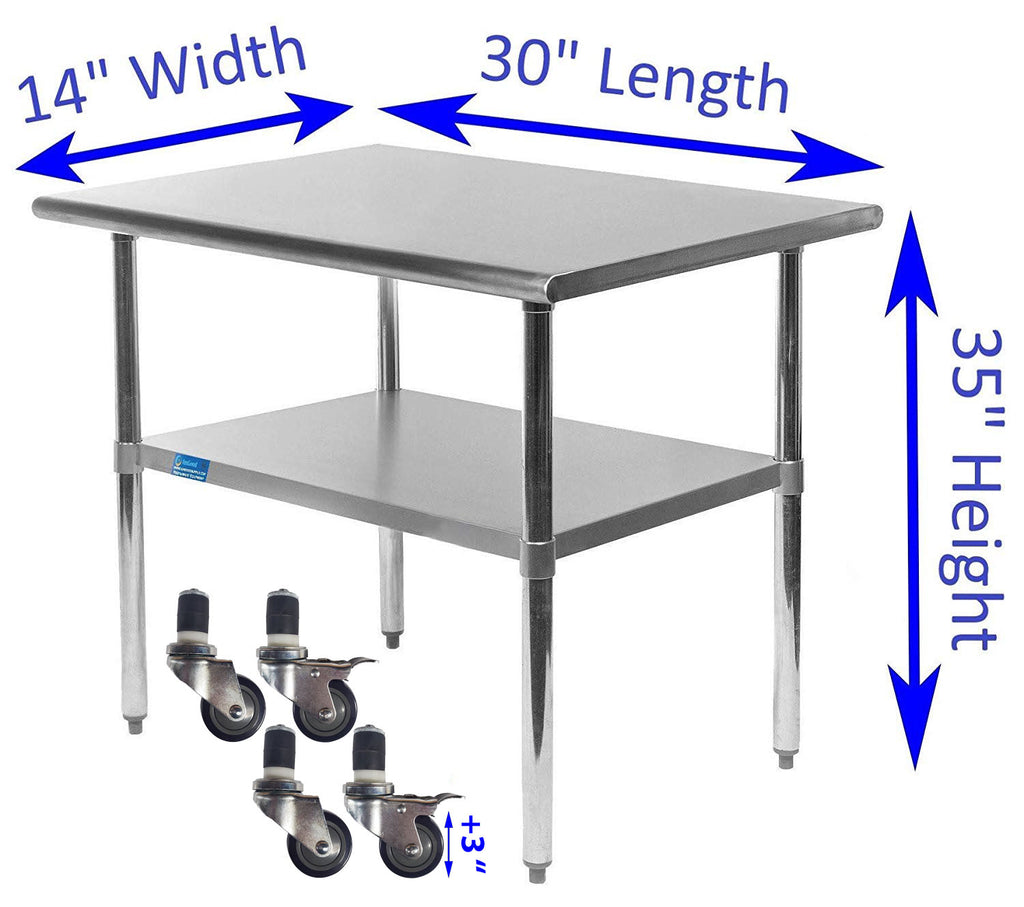 "14"" X 30"" Stainless Steel Work Table With Galvanized Undershelf & Casters"