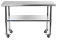 "14"" X 48"" Stainless Steel Work Table With Galvanized Undershelf & Casters"
