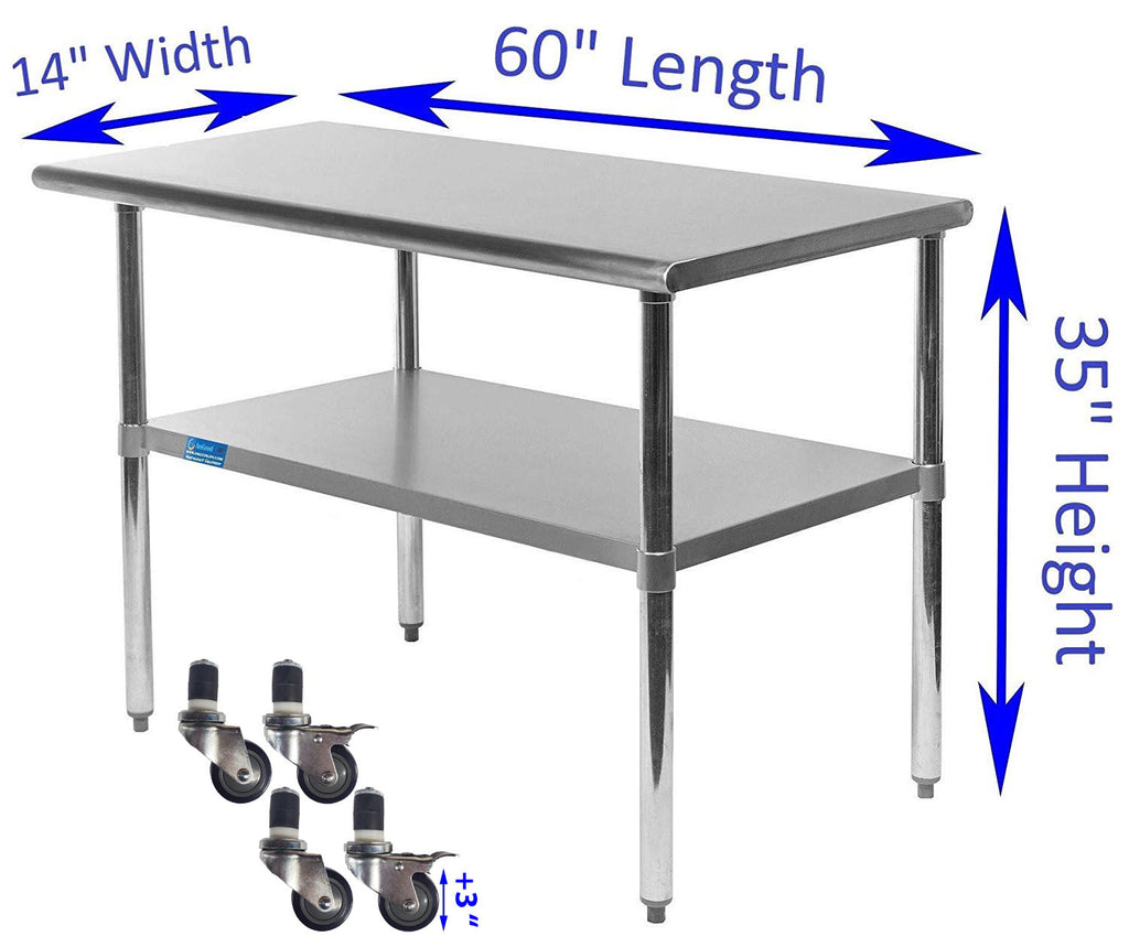 "14"" X 60"" Stainless Steel Work Table With Galvanized Undershelf & Casters"