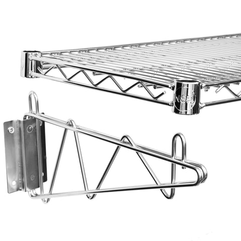 "14"" X 24"" Chrome Wire Wall Mount Shelf"