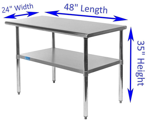 "24"" X 48"" Stainless Steel Work Table With Galvanized Undershelf"