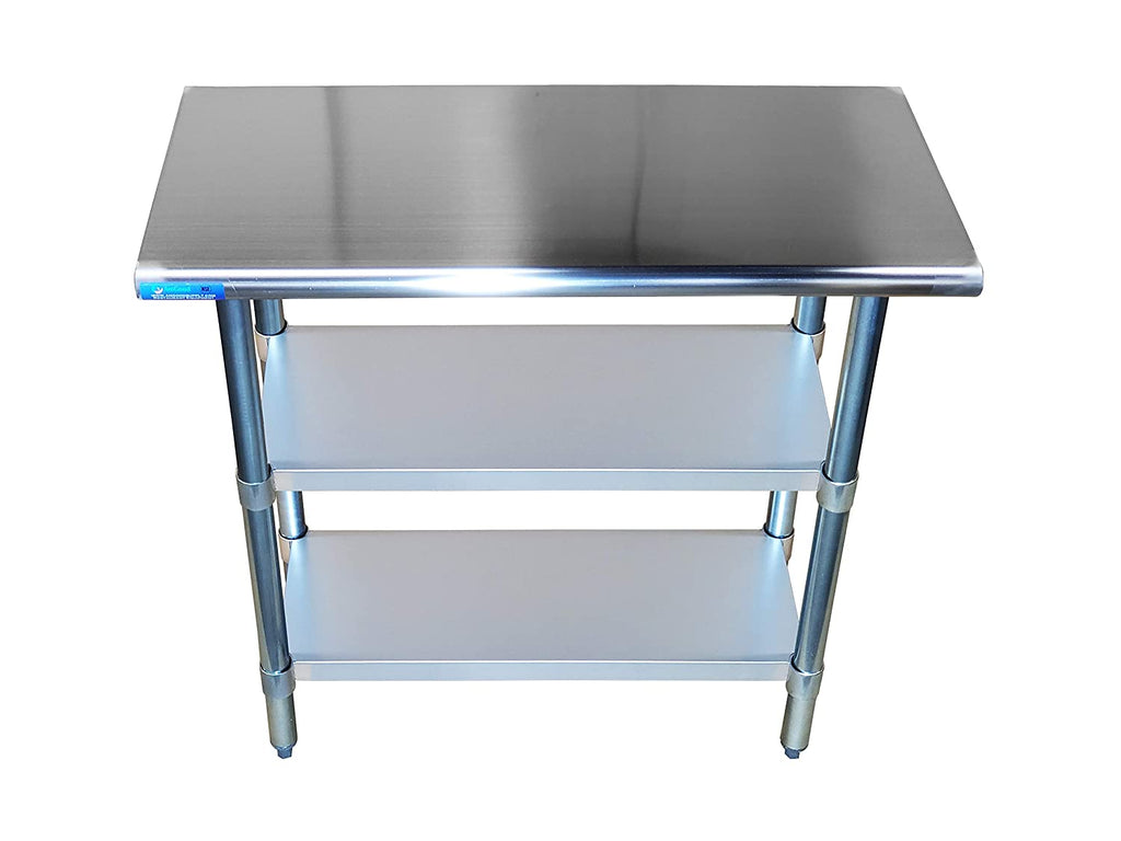"18"" X 36"" Stainless Steel Work Table With 2 Undershelf - AmGoodSupply.com"