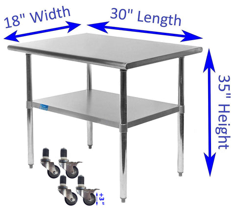 "18"" X 30"" Stainless Steel Work Table With Galvanized Undershelf & Casters"