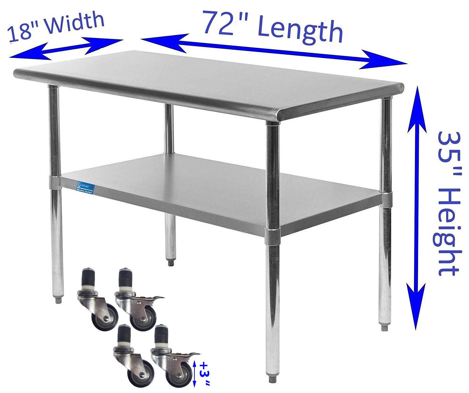 "18"" X 72"" Stainless Steel Work Table With Galvanized Undershelf & Casters"