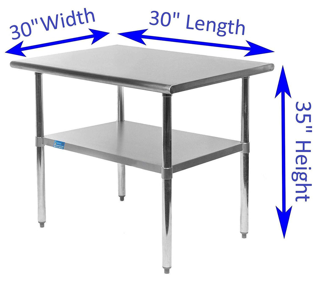 "30"" X 30"" Stainless Steel Work Table With Galvanized Undershelf - AmGoodSupply.com"