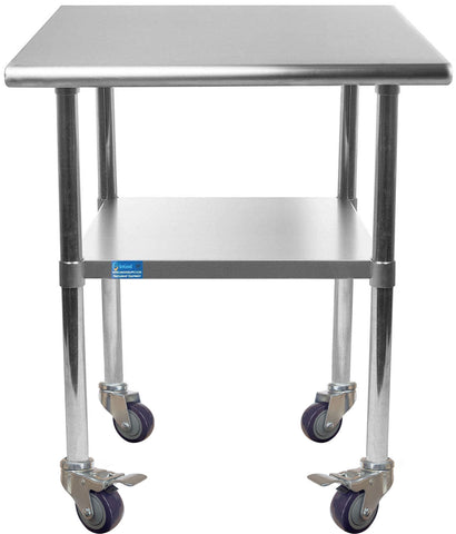 "24"" X 18"" Stainless Steel Work Table With Galvanized Undershelf & Casters"