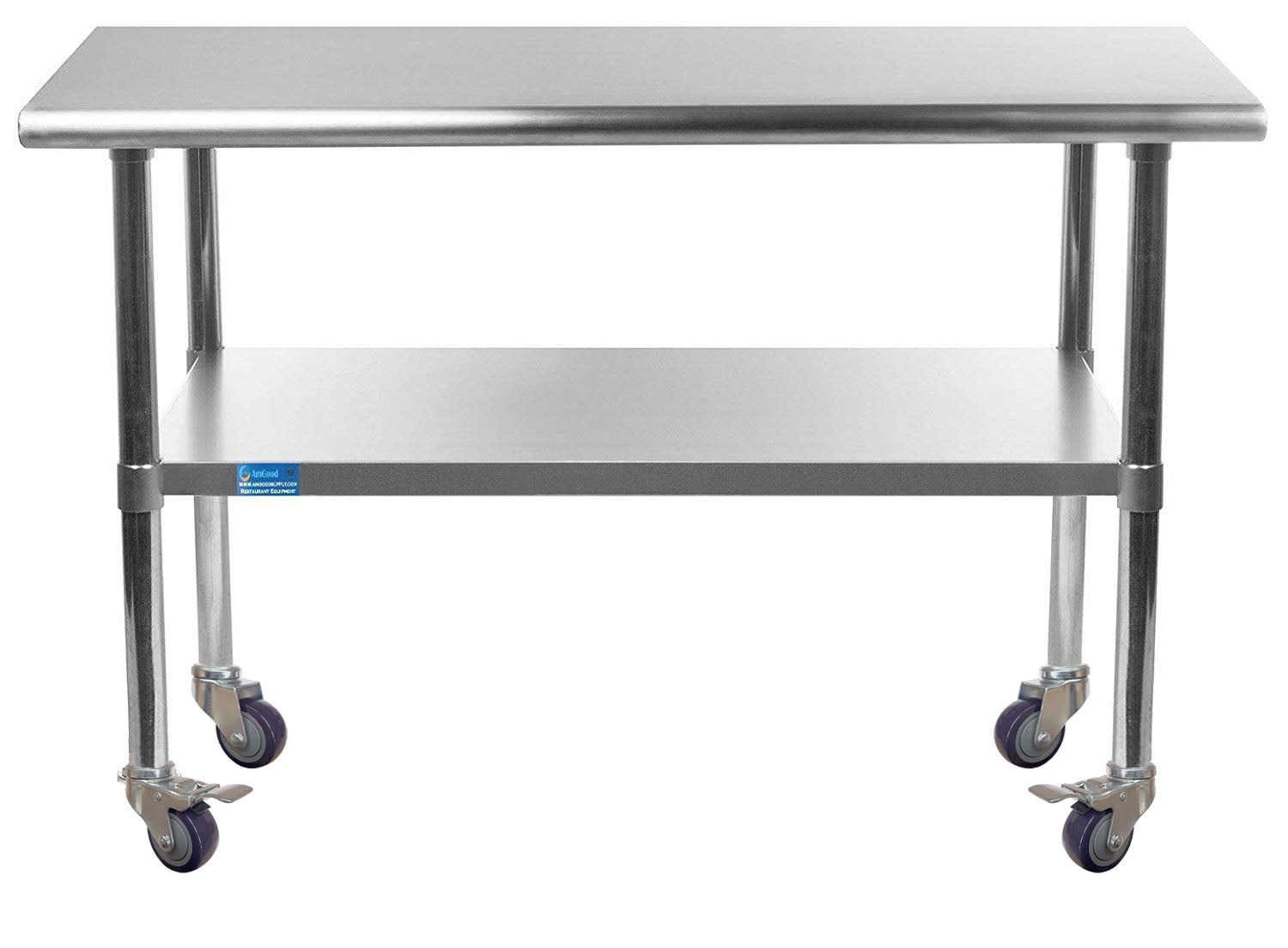 "24"" X 30"" Stainless Steel Work Table With Galvanized Undershelf & Casters"