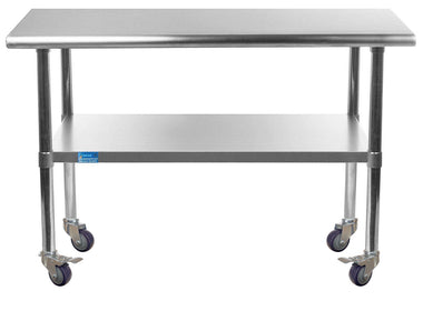 "24"" X 36"" Stainless Steel Work Table With Galvanized Undershelf & Casters"