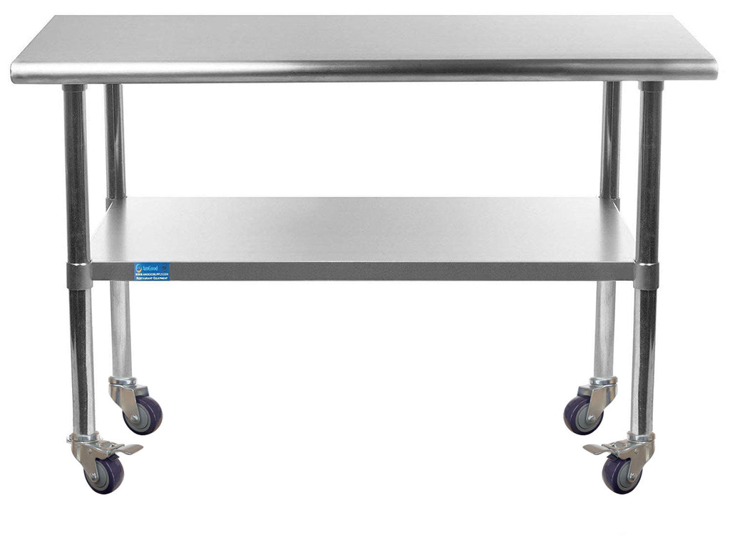 "24"" X 48"" Stainless Steel Work Table With Galvanized Undershelf & Casters"