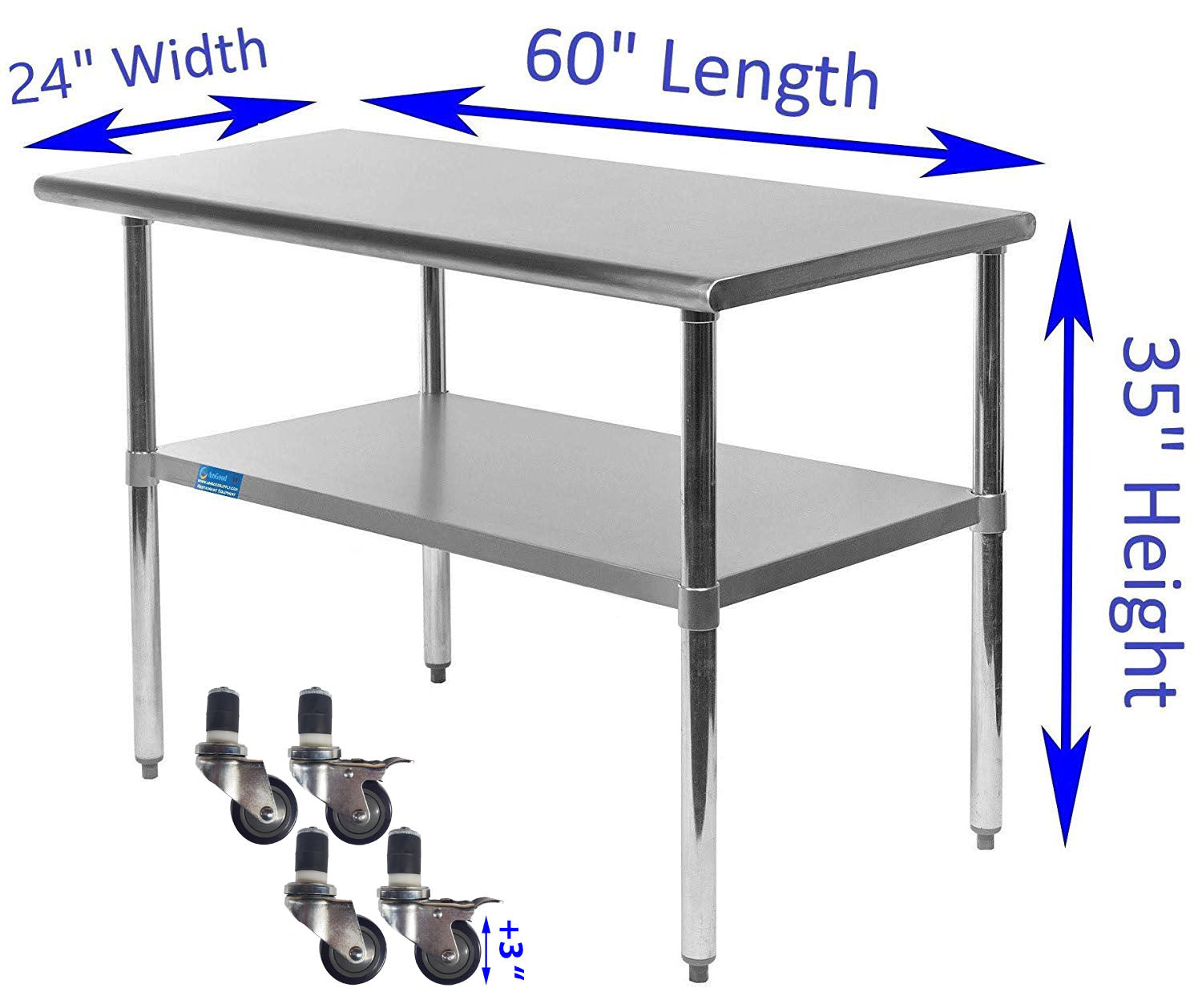 "24"" X 60"" Stainless Steel Work Table With Galvanized Undershelf & Casters"