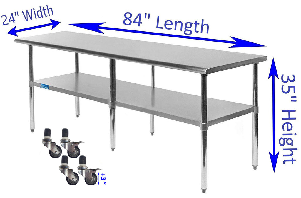"24"" X 84"" Stainless Steel Work Table With Galvanized Undershelf & Casters"