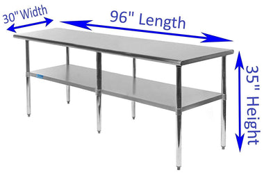 "30"" X 96"" Stainless Steel Work Table With Galvanized Undershelf"